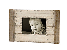 Antique white brown solid wood photo frame