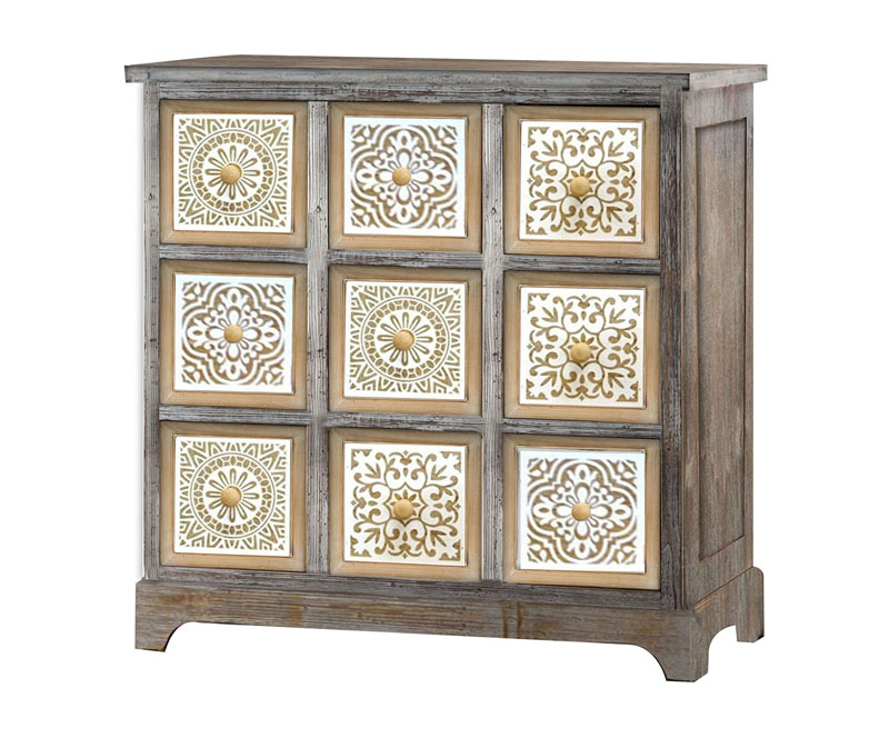 Square Wood Carved Nine Drawers Cabinet Cupboards