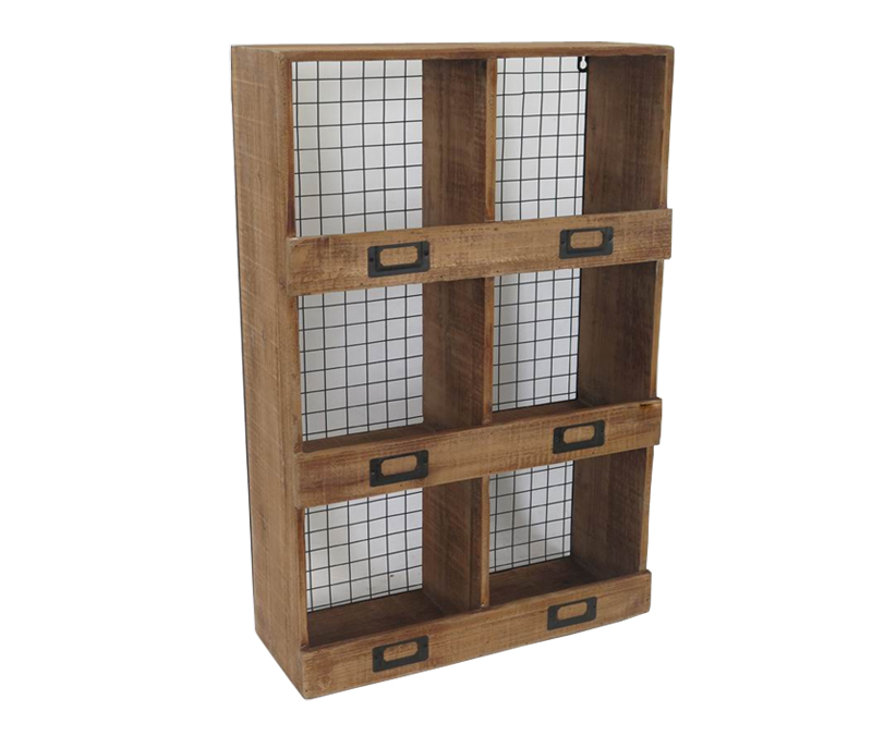 Anqitue Wood Storage Wall Shelf Iron Grid