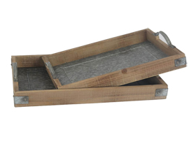 Square Couple Wooden Trays with Iron Bottom and Handles