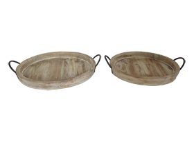 Round Couple Wooden Trays with Iron Handles
