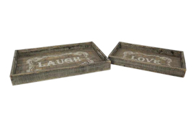 Fashional Wooden Couple Trays with Images Printed on Bottom