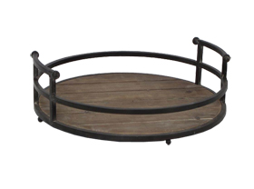 Brief Round Antique Tray with Wood Bottom and Iron Side