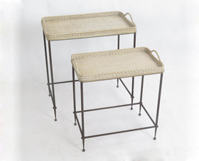 Rattan Bamboo Woven Shelf With Iron Stand
