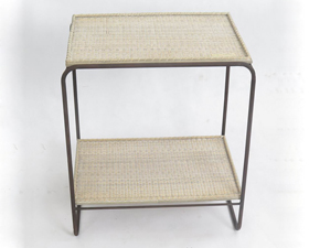 Square Rattan Bamboo Woven Shelf Two Layers Iron Collet