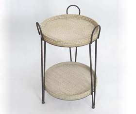 Rattan Bamboo Woven Tray Round Tow Layers Iron Collet