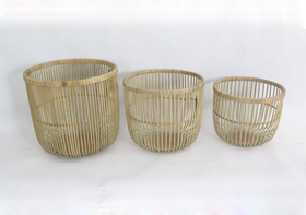 Round Bamboon Plywood Woven Storage Basket