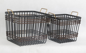 Square Bamboo Woven Basket Metal Handles