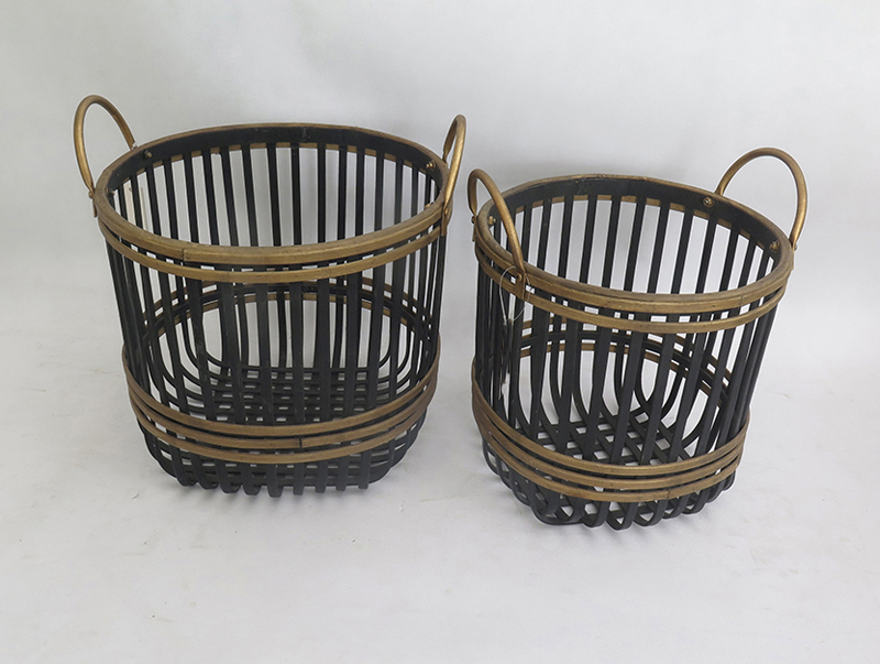 Bamboo Woven Round Couple Baskets With Handles