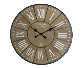 Wood Clock Dial With Twelve Roman Numerals Black Hands