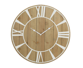 Simple Burlywood Wall Clock with White Roman Numberals