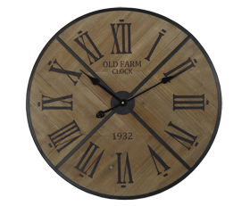 Burlywood Wall Clock With Black Roman Numerals Edge