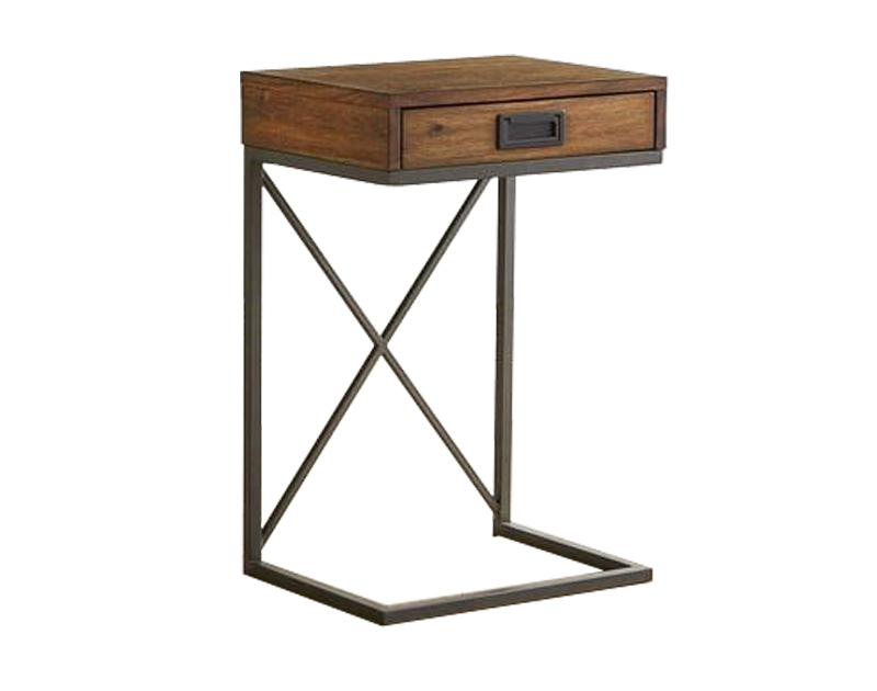 Simple beside table wood face with one drawer iron leg