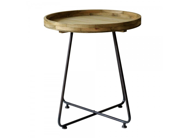 Fanshion Beside Table Round wood table top with iron table legs