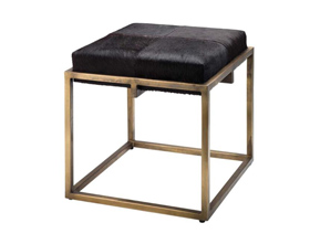 Modern Fashion Square Black Fur Low Stool with Gloden Foot