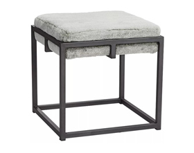 Modern Fashion Square Fur Low Stool with Black Stool