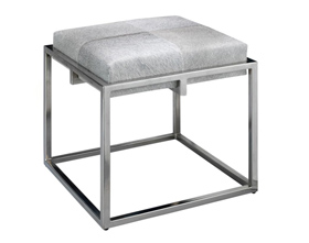 Modern Fashion Square Fur Low Stool with Silver foot